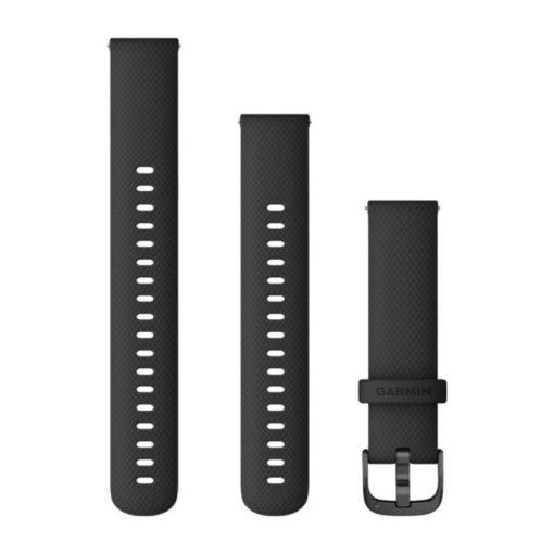 GARMIN Vivoactive 4S (Quick Release) szilikon óraszíj, 18 mm - fekete, szürke csat