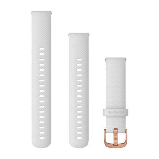 GARMIN Vivoactive 4S (Quick Release) szilikon óraszíj, 18 mm - fehér, rose gold csat