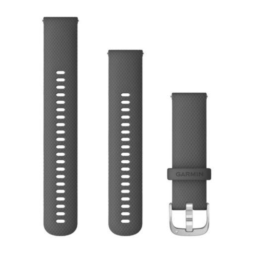 GARMIN Vivoactive 4 (Quick Release) szilikon óraszíj, 22 mm - árnyékszürke, ezüst csat