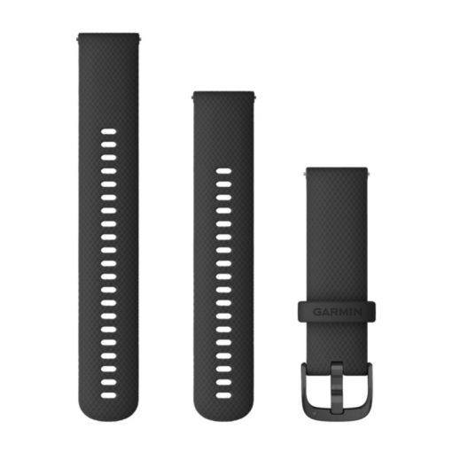 GARMIN Vivoactive 4 (Quick Release) szilikon óraszíj, 22 mm - fekete, szürke csat